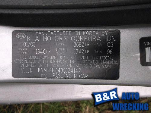 2003 Kia Spectra Left Side Stub Axle, Rear TCB125